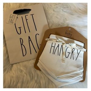 Set Of 3 RAE DUNN White Black Hangry Baby Bibs NWT